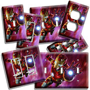 Ironman Superhero Space Fly Light Switch Outlet Wall Plate Boys Room Hd Iron Man