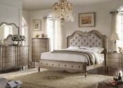 Bed Dresser Mirror Night Stand East King Size Bedroom Taupe 4pc Antique Design