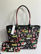 Disney 2018 Dooney And Bourke Christmas Holiday Tote And Wristlet/wallet Set New