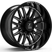 4 New 22x12 Axe Off Road Hades Black Milled Wheels Chevy 8x6.5 Dodge 8x165.1