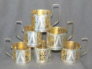 6 Vintage Sterling Silver Gold Russian Soviet Moscow Tea Glass Holders 21oz