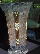 Beautiful Czech Bohemian Large Hand-cut Crystal Vase With Gold And Paint Accents