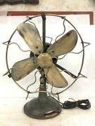 Antique Old Vintage Rare Brass Blade And Metal Body Emco 220 Volt Table Fan, Japan
