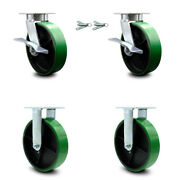 8 Inch Kingpinless Green Poly On Steel Caster Set 2 Brake And Swivel Lock 2 Rigid