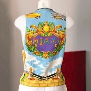 Gianni Versace Cotton And Silk Vest Miami Print Size It 50 From Ss 1993