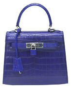 Authentic Ts Crocodile Skin Womens Belly Leather Tote Bag Purse W/strap Blue