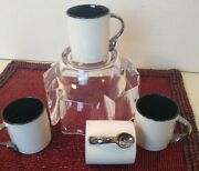 Dept 56 Coffee Break Ceramic Black And White Deco Cups With Spoon Handle Set Of 4