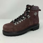 Harley-davidson Women Size 6 M Burgundy Akers Leather Hiking Boots D84550