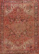 Antique Geometric Traditional Hand-knotted Area Rug Wool Oriental Carpet 8x9 Red