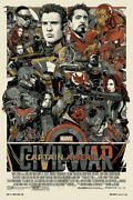 Captain America - Civil War By Tyler Stout - Variant- Rare Sold Out Mondo Print
