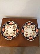 Pair Antique 1921 Royal Crown Derby Imari Plate / Biscuit Cookie Tray Excellent