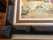 """Antique Beautiful Box Wood Tramp Art Large Picture Frame 25 X 20"""""""