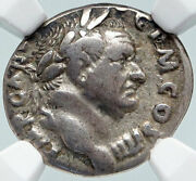 Vespasian Authentic Ancient 72ad Romes Silver Roman Coin Implements Ngc I86050