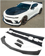 Zl1 1le Style Carbon Fiber Front Lip Splitter And Side Skirts For 16-up Camaro Ss
