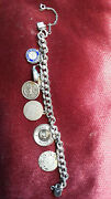👉 Disney Related Sterling Silver Charm Bracelet, 34 Grams, 7 Charms, 7 W/claps