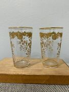 Antique Bohemian Etched Crystal Glass Pair Of Tumbler Glasses Gold Floral Dec.
