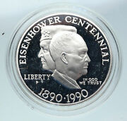 1990 United States Usa General And President Eisenhower Proof Silver Coin I86453