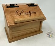 Amish Crafted Oak Recipe Box With Engraved Lid - Recipes, New And Nice