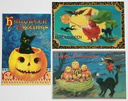 3 Vintage Graphics Halloween Greeting Cards Black Cat Witch Pumpkins New Blank