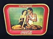Coca Cola 1934 Metal Reproduction Tray Johnny Weissmuller Maureen Oand039sullivan