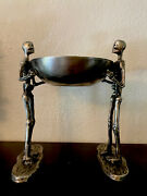 Silver Metal Skeletons Holding Bowl 15.5andrdquo Tall Halloween Haunted House Serving