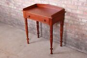 Baker Furniture Milling Road Carved Mahogany Small Writing Desk Or Entry Table