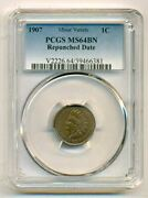 1907 Indian Head Cent Rpd Minor Variety Ms64 Bn Pcgs
