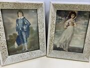 Vintage Pair Of Pettipoint Pictures Of Man And Woman Framed Wood Frame