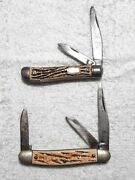 Lot Of 2 Colonial Pocket Knives 3-blade / 2-blade Shellwrap Scales Used W/shield
