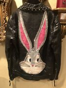 100 Authentic Black Studded Embroidered Crystal Bugs Bunny Leather Jacket