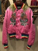 100 Authentic Pink Silk Tiger Embroidered Bomber Jacket 6500+tax