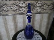 """Cobalt Blue Cut To Crystal Clear Glass 15 1/2"""" Tall Wine Decanter With Stopper"""