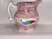 Staffordshire Spatterware Peafowl Large Water Pitcher Red Spatter Ca. 1830