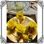 Napkin Rings Set Of 6 Yellow Silk Roses Nr000065 Designer Collection