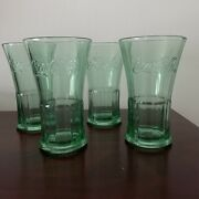Vintage Libbey Coca Cola Flare 16oz Tumblers Green Glass Embossed Script 4-pc