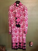 100 Authentic Porcelain Floral Print Silk Dress With Pussy Bow 3950+tax