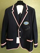 """100 Authentic Navy Shark And """""""" Logo Pool Patch Jacket 4,200+tax"""