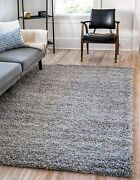 Unique Loom Solo Solid Shag Collection Modern Plush Cloud Gray Area Rug 5' 0 X