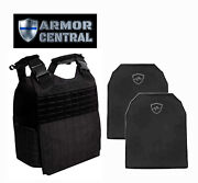 Laser Cut Tactical Black Molle Plate Carrier W/ Level Iiia Body Armor - Police