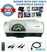 Sanyo Plc-wl2503 3lcd Projector Short-throw Home Theater Streaming Bundle Usb-c