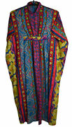Vintage 60andrsquos Miss Elaine Printed Barkcloth Caftan Robe Housecoat Colorful D8