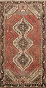 Antique Traditional Geometric Hand-knotted Area Rug Wool Oriental Carpet 4x7 Red
