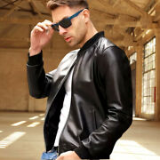 Brand New Mens Raf Bomber Leather Jacket With Removable Fur Collar