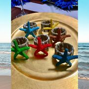 Napkin Rings Set Of 6 Sea Stars Multicolor Nr000036 Beach Collection