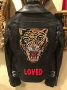 100 Authentic Black Embroidered Crystal Tiger Bomber Leather Jacket