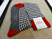 Dapper Classic Over The Calf Socks Black White Houndstooth Red Accent