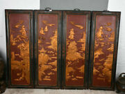 49 Old Chinese Wood Lacquerware Carving Furniture Landscape Folding Screen Set