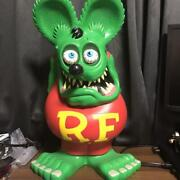 Rat Fink R.f. Character Big Size Piggy Bank 60 Cm Green Ed Roth From Japan Used