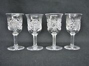 4 American Brilliant Cut Glass Cordial Or Liquer Glasses By Libbey 19th Century