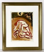 Marc Chagall 1960 Bible Lithograph Andldquocain And Abelandrdquo M238 Framed